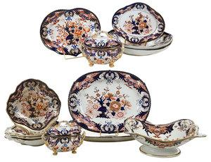 14 Derby Imari Style Porcelain Pieces