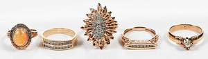 Five Rose Gold & Gemstone Rings