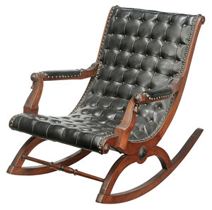 American Walnut Carved Rocking Chair