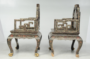 Pair Chinese Gilt and Lacquered Armchairs