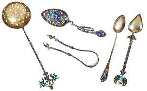 Five Plique-à-Jour Spoons