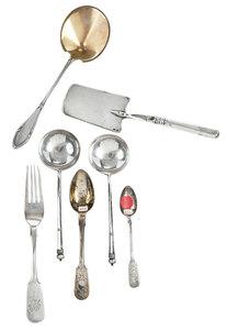 Seven Pieces Russian Silver Flatware