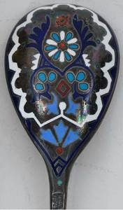 Five Russian Silver and Enamel Spoons