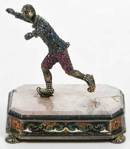 Jewel Encrusted Silver Figure of Ice Skater