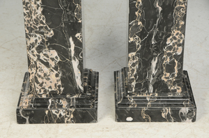Pair White Veined and Green Marble Pedestals