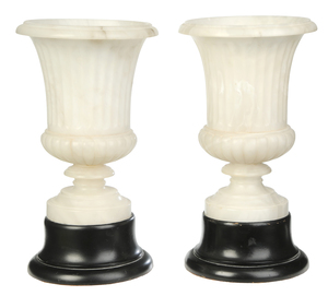 Pair Capana Urn Form Alabaster Lamps