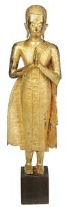 Burmese Standing Gilt Bronze Buddha