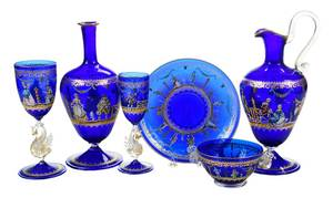 17 Pieces Moser Salviati Venetian Glass