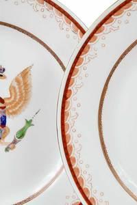 Four Armorial Porcelain Plates