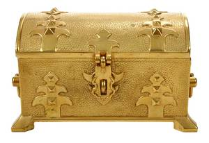 Russian Gilt Bronze Jewelry Casket