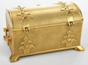 Russian Gilt Bronze Jewelry Casket