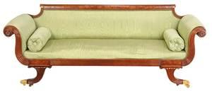 American Classical Figured Mahogany Sofa