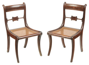Pair Classical Mahogany Caned Seat Side Chairs