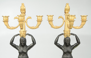 Fine Russian Empire Egyptian Revival Candelabra