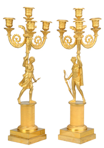 Pair Empire Ormolu Dianna and Apollo Candelabra