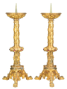 Pair Gothic Revival Gilt Bronze Candlesticks