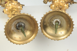 Pair Gothic Revival Gilt Bronze Candlesticks