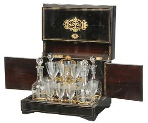 Napoleon III Boulle Style Tantalus Set