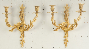 Three Pairs Louis Style Gilt Bronze Wall Lights