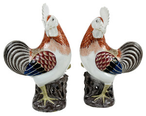 Pair Chinese Famille Rose Porcelain Cockerels