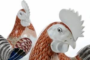 Pair Chinese Famille Rose Porcelain Cockerels