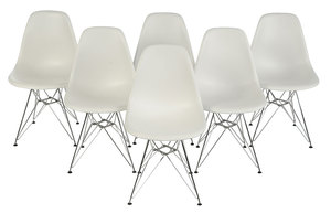 Set Six White Eames Eiffel Dining Chairs