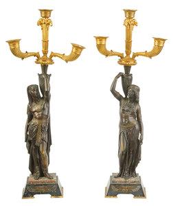 Pair Egyptian Revival Gilt Bronze Candelabra