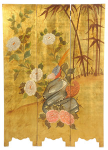 Chinese Lacquered Parcel-Gilt Screen