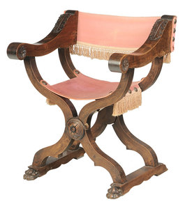 Baroque Style Carved Walnut Savonorola Chair
