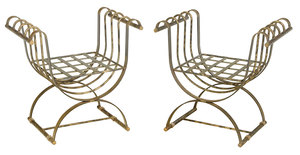 Two Similar Curule Form Brass and Steel Benches