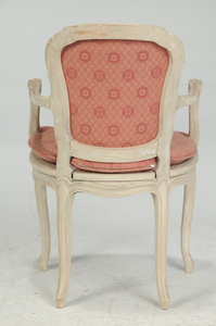 Pair Louis XV Style Paint Decorated Arm Chairs