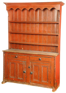 Red Painted Country Pine Pewter Cupboard