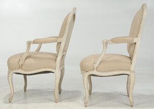 Pair Louis XV Paint Decorated Fauteuils