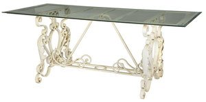 White Painted Wrought Iron Glass Topped Table