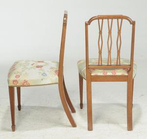 Set Four Sheraton Style Inlaid Mahogany Chairs