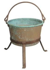 Vintage Large Iron and Copper Cauldron on Stand