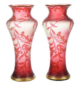 Pair Cranberry Art Glass Cameo Vases