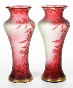 Pair Cranberry Art Glass Cameo Vases