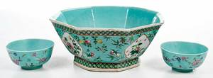 Three Chinese Export Famille Verte Bowls