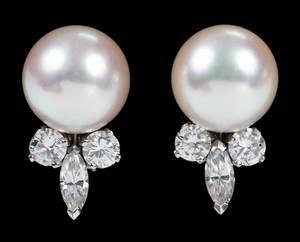 18kt. Pearl & Diamond Earclips