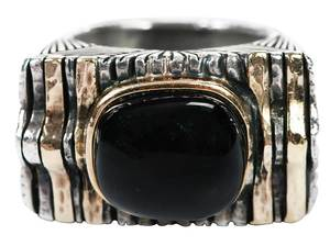 14kt., Silver & Onyx Ring