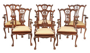 Set Six Chippendale Style Arm Chairs
