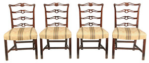Set Four Ribbon Back Mahogany Side Chairs