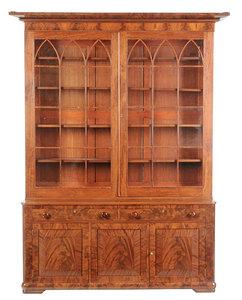 American Classical Figured Mahogany Bookcase