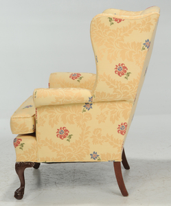 Two Chippendale Style Upholstered Wing Chairs