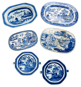 Six Canton Porcelain Serving Pieces