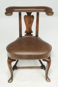 Queen Anne Style Mahogany Voyeuse Chair