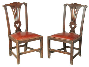 Rare Pair Southern Chippendale Side Chairs