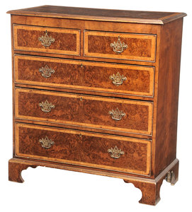George I Style Burlwood Five Drawer Chest