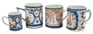 Four Chinese Export Porcelain Canns